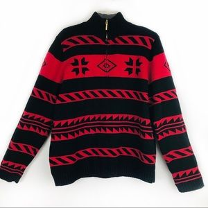 Nordic Ski Sweater Pullover 3/4 Zip chaps XL